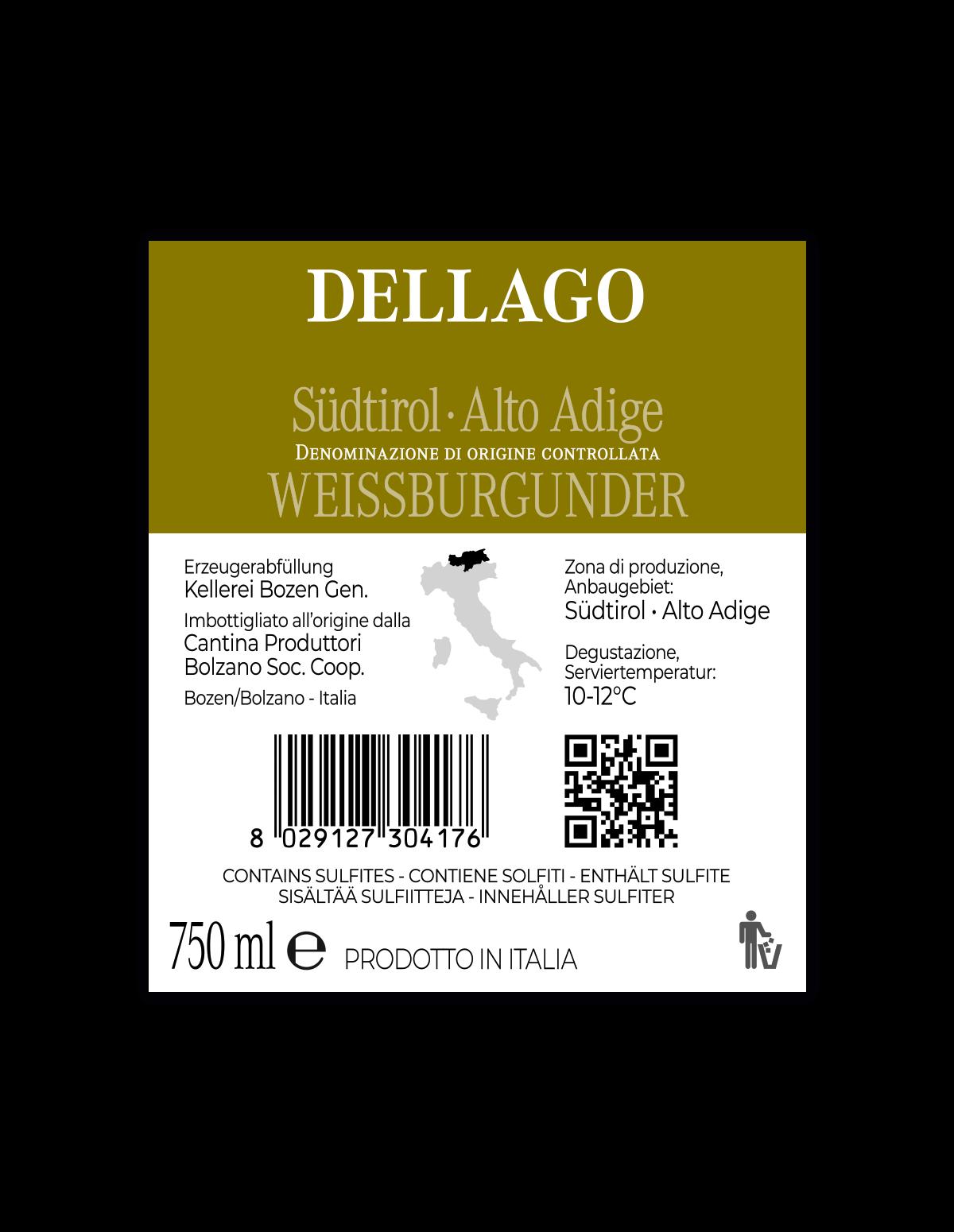 DELLAGO WEISSBURGUNDER Südtirol • Alto Adige DOC 2019