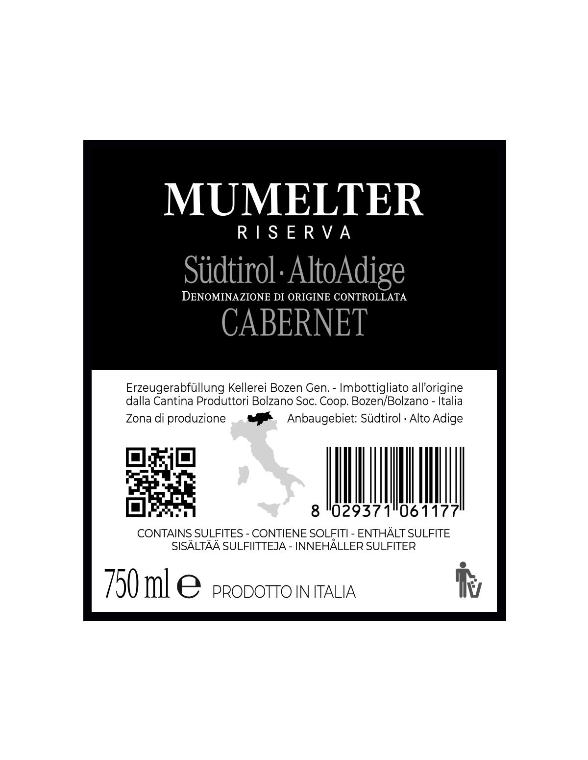 MUMELTER CABERNET RISERVA Südtirol • Alto Adige DOC 2017