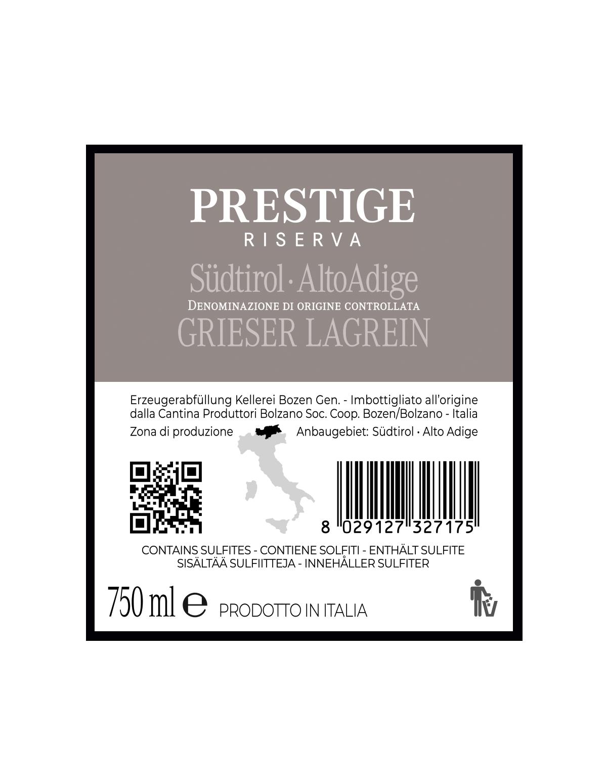 PRESTIGE GRIESER LAGREIN RISERVA Südtirol • Alto Adige DOC 2018