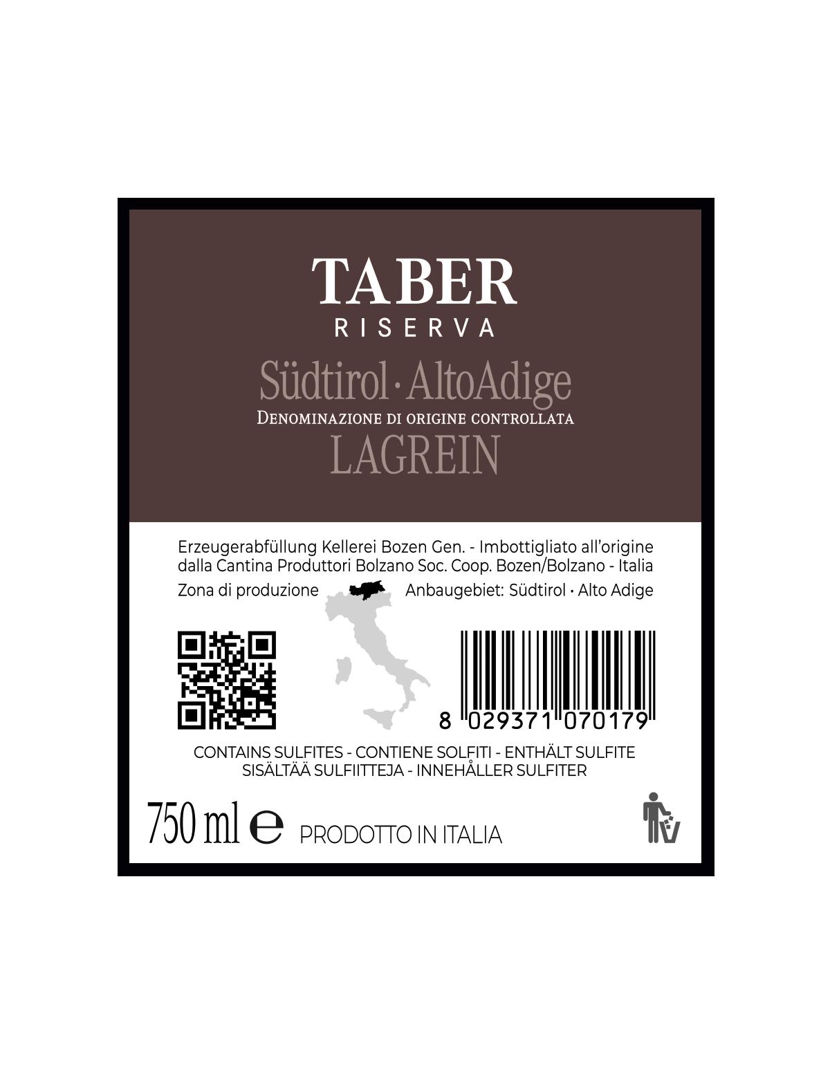 TABER LAGREIN RISERVA Südtirol • Alto Adige DOC 2018